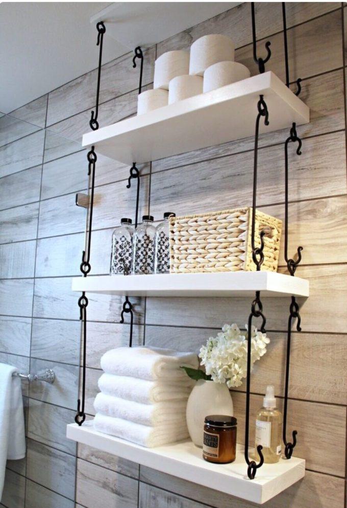 Rustic Bathroom Decor Ideas - Hanging Shelves with Wrought Iron Hardware - harpmagazine.com