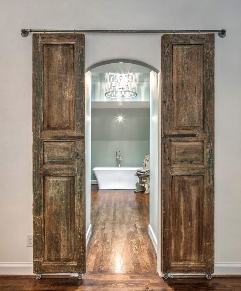 French Country Decor Ideas - Rustic Wooden Barn Doors for Ensuite Bathroom - Harpmagazine.com
