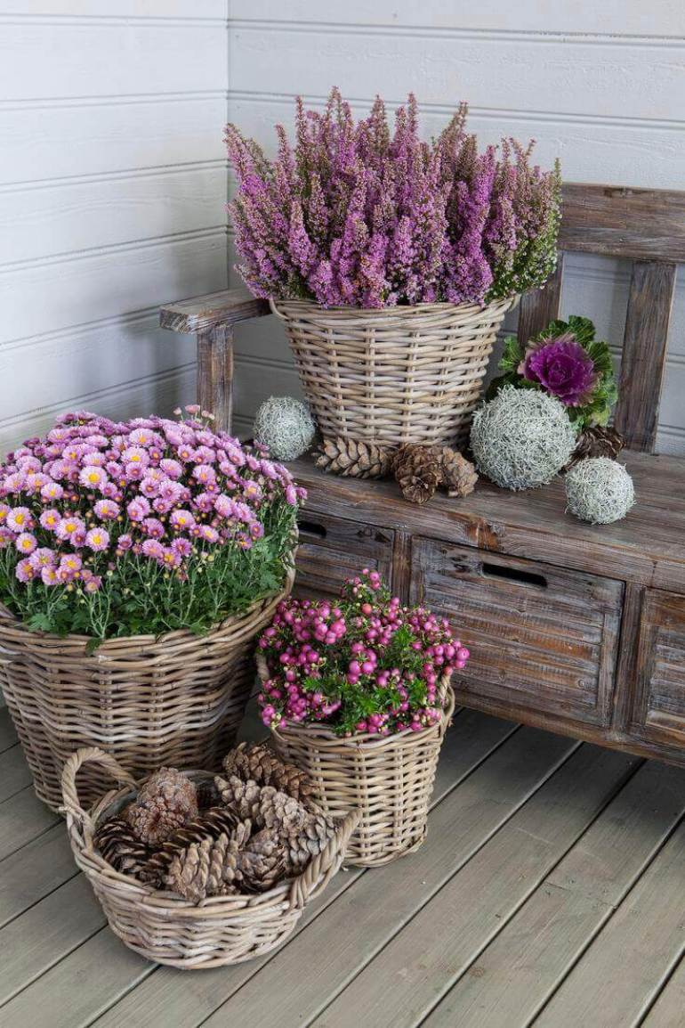 Front Door Flower Pots Ideas - Pretty Wicker Basket Flower Pots - harpmagazine.com