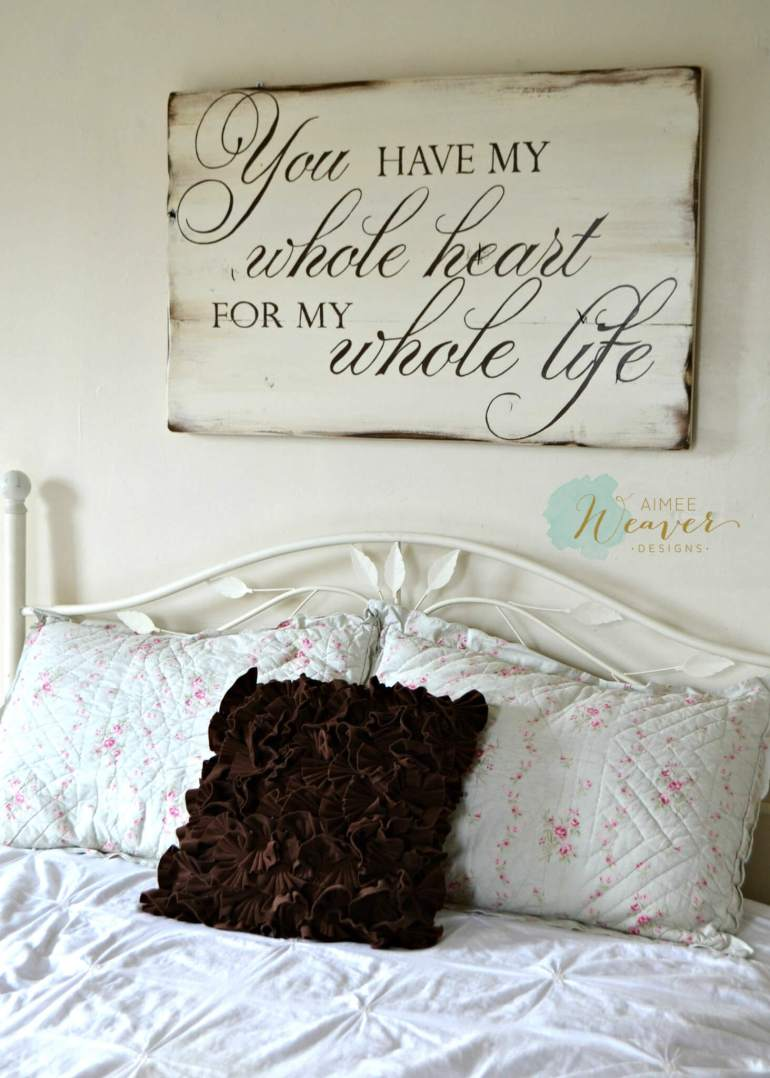Wood Signs Ideas - Whitewashed Romantic Wall Hanging - harpmagazine.com
