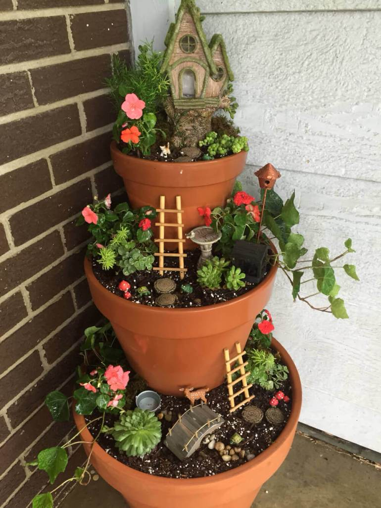 Front Door Flower Pots Ideas - Tiered Front Porch Fairy Garden - harpmagazine.com