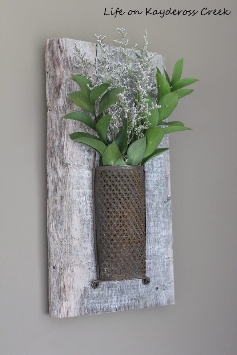 Rustic Wall Decor Ideas - Whitewashed Wood and Antique Brass Wall Sconce - harpmagazine.com