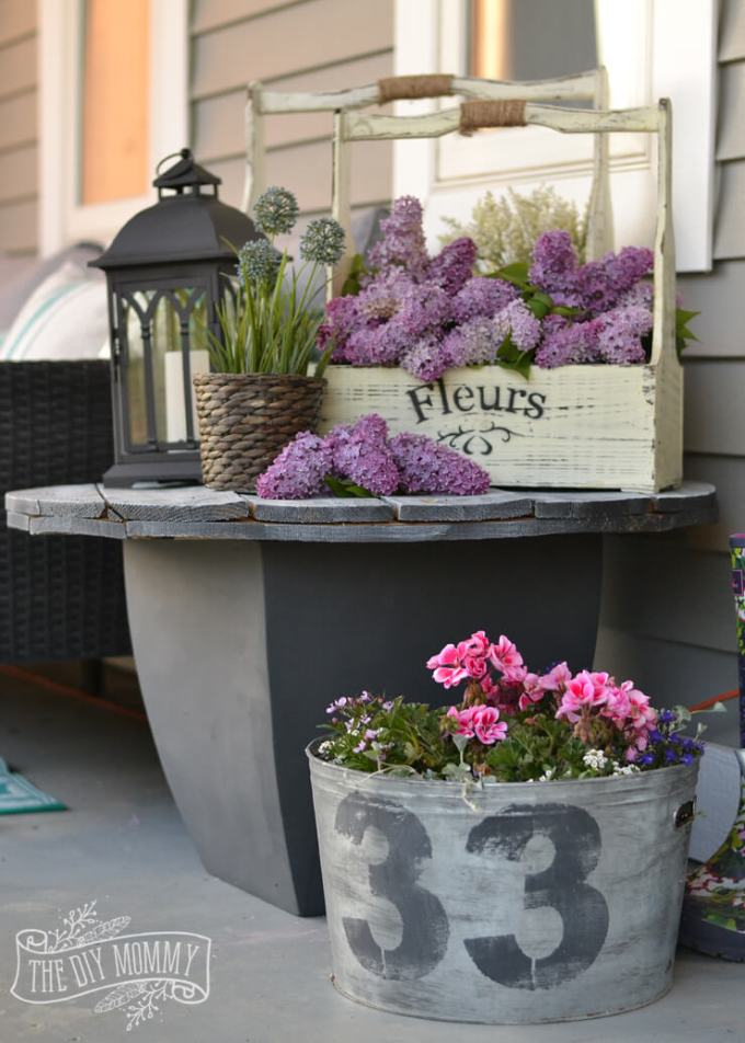 Farmhouse Porch Decorating Ideas - Shades Of (Rustic) Gray Repurposed Table & Planters - Harpmagazine.com