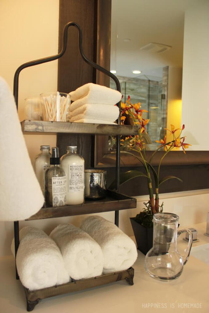 Rustic Bathroom Decor Ideas - Three-tiered Metal Storage and Display Rack - harpmagazine.com