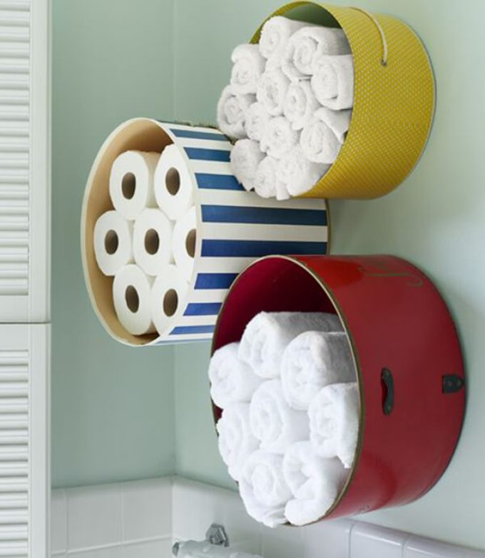 Storage Ideas for Small Spaces - Mount Colorful Hat Boxes for Bathroom Storage - Harpmagazine.com