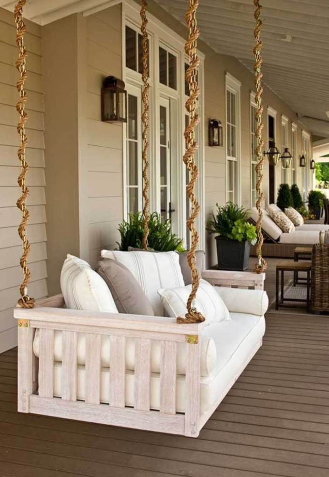 Farmhouse Porch Decorating Ideas - Bed-To-Porch Suspended Swing- Harpmagazine.com
