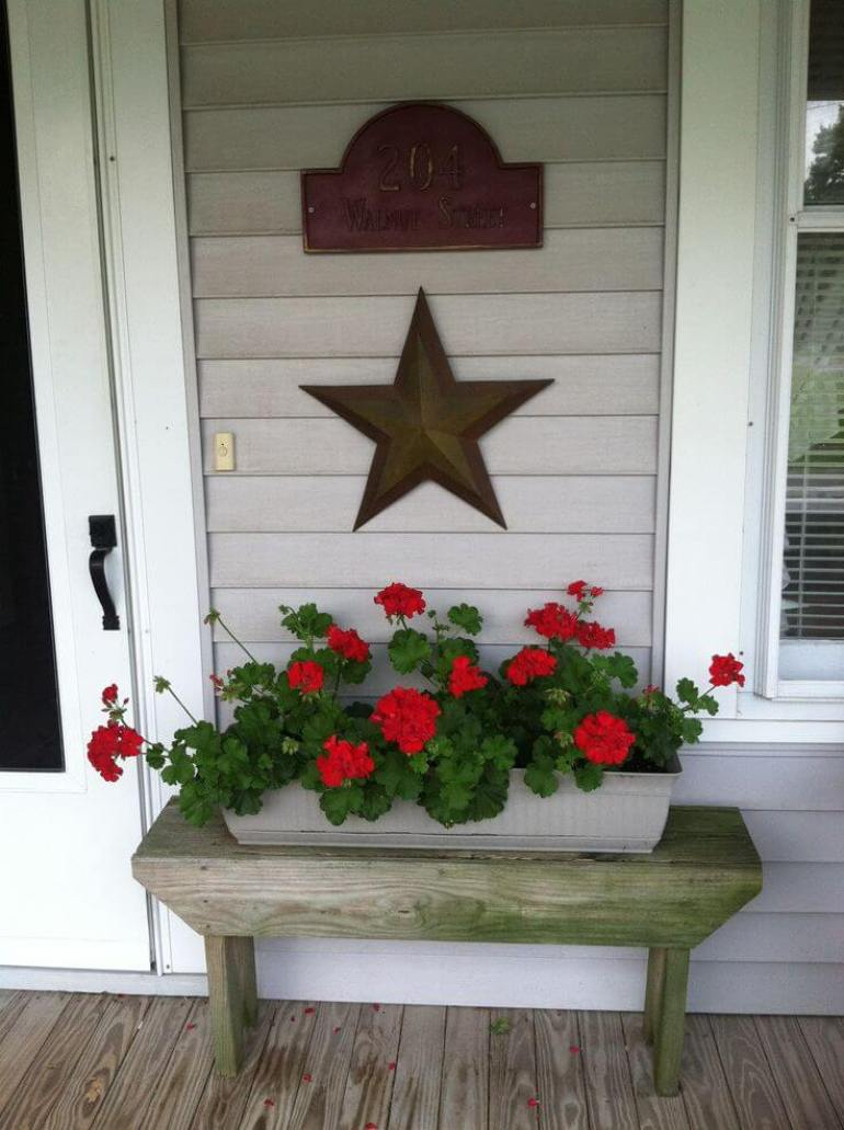 Front Door Flower Pots Ideas - Rustic Wooden Bench with Flower Box - harpmagazine.com