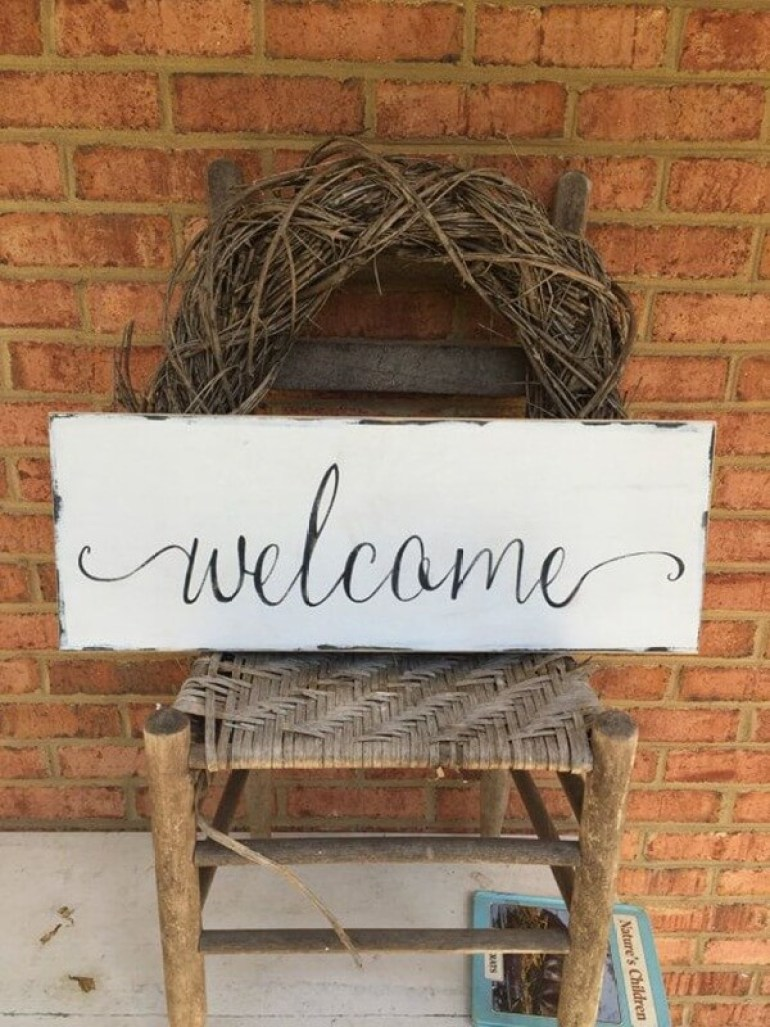 Farmhouse Porch Decorating Ideas - Cursively Yours Hand-Painted Welcome Sign - Harpmagazine.com