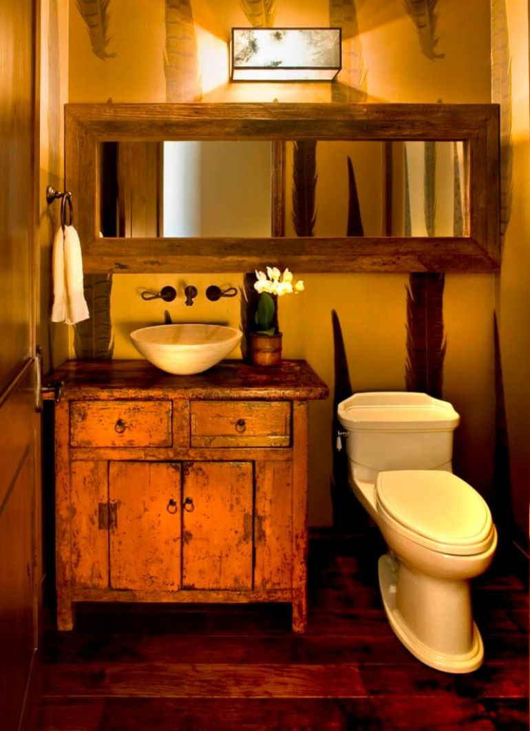 Rustic Bathroom Decor Ideas - Distressed Vanity Cabinet and Wood-framed Mirror - harpmagazine.com
