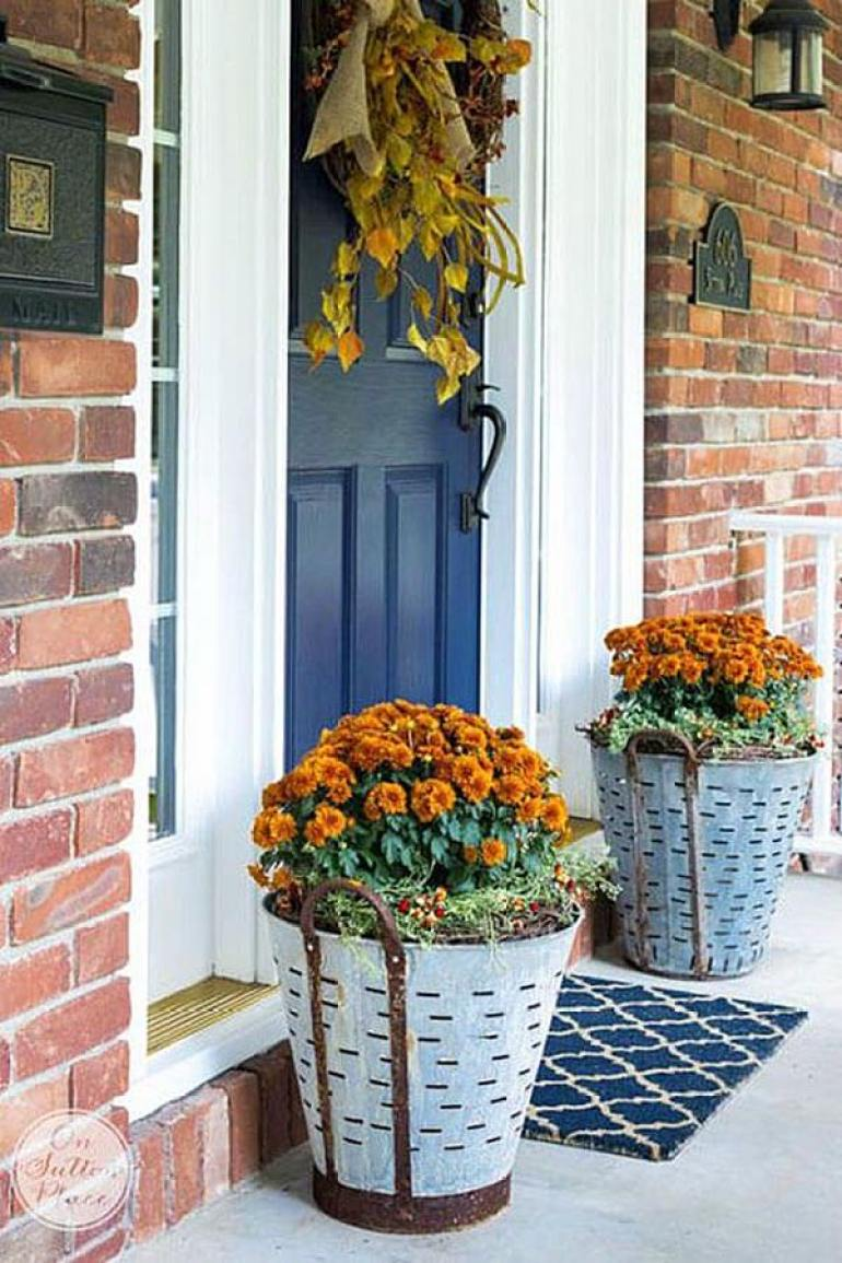 Front Door Flower Pots Ideas - Metal Olive Bucket Fall Planters - harpmagazine.com