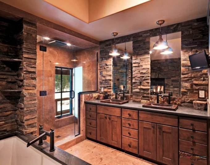Rustic Bathroom Decor Ideas - Masculine Bath with Dark Stone and Walk-in Shower - harpmagazine.com