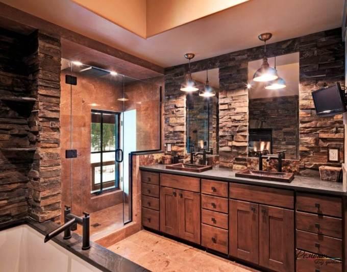 Rustic Bathroom Decor Ideas - Masculine Bath with Dark Stone and Walk-in Shower - harpmagazine.com