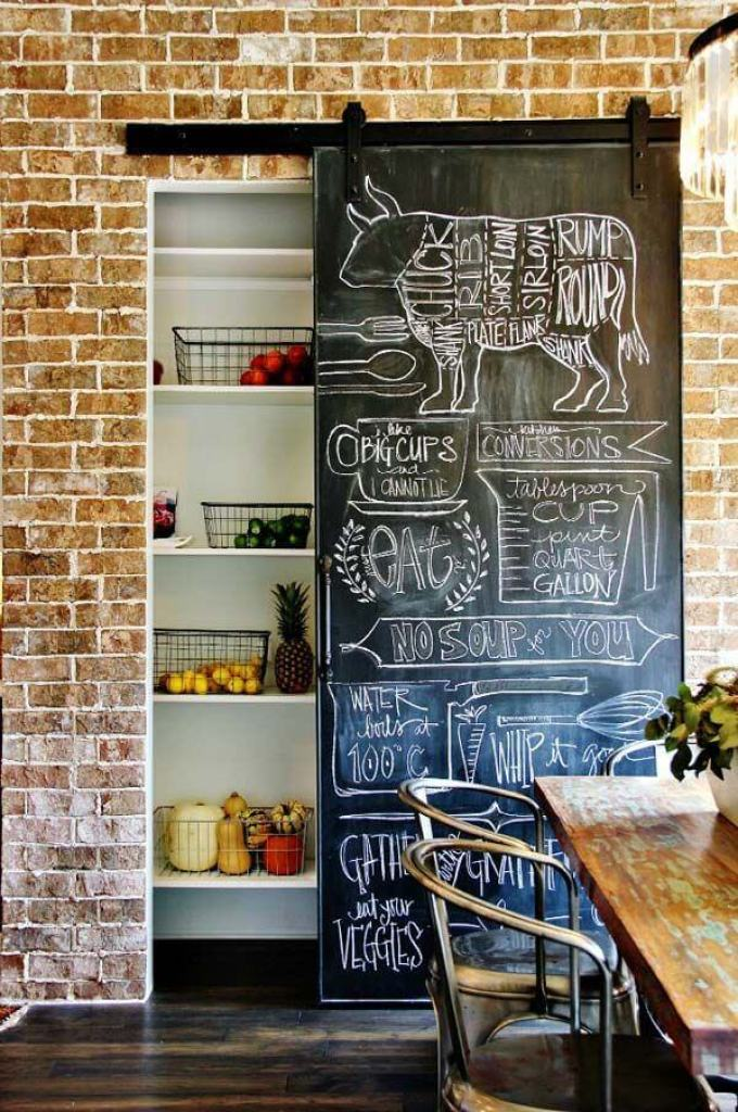 Farmhouse Kitchen Decor Design Ideas - Hanging Chalkboard Pantry Door With - harpmagazine.com