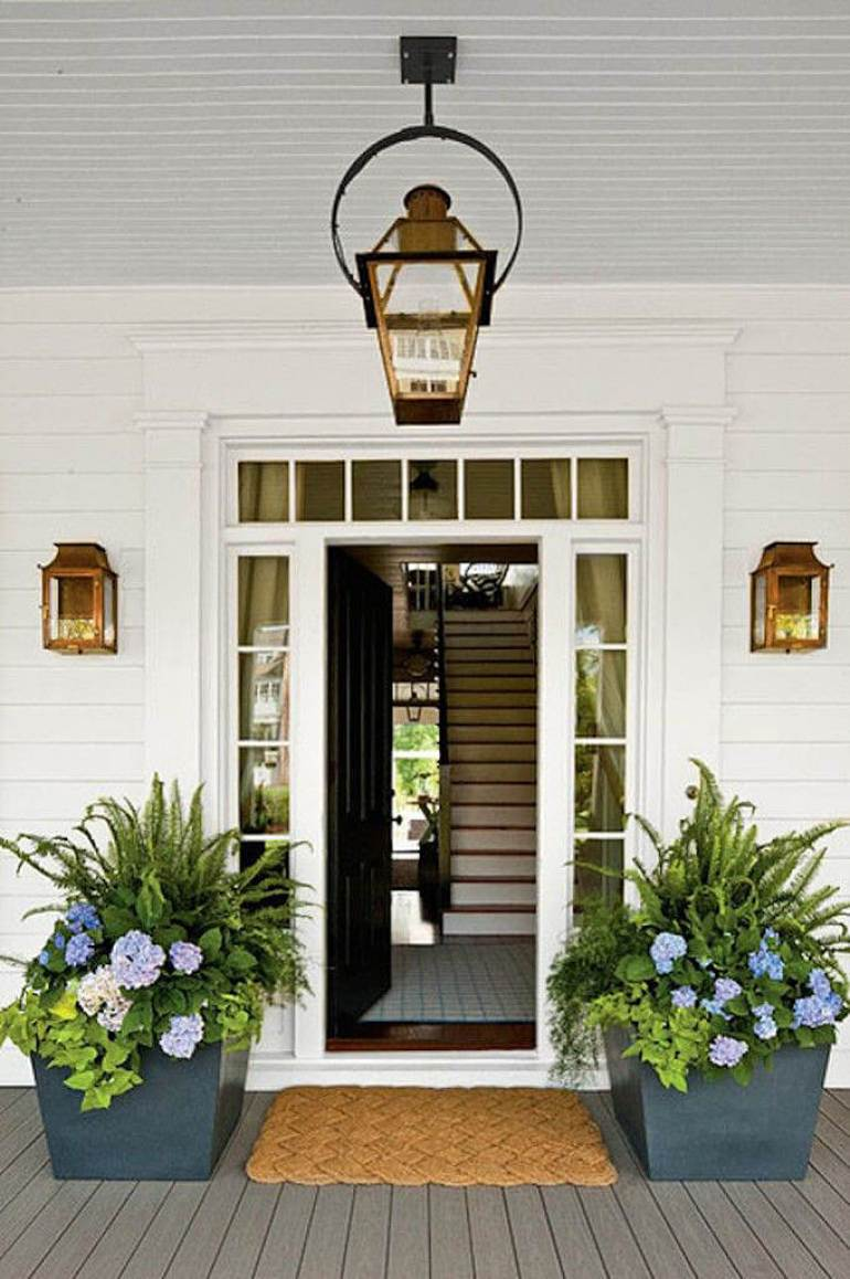 Front Door Flower Pots Ideas - Metal Flower and Fern Planter Pair - harpmagazine.com