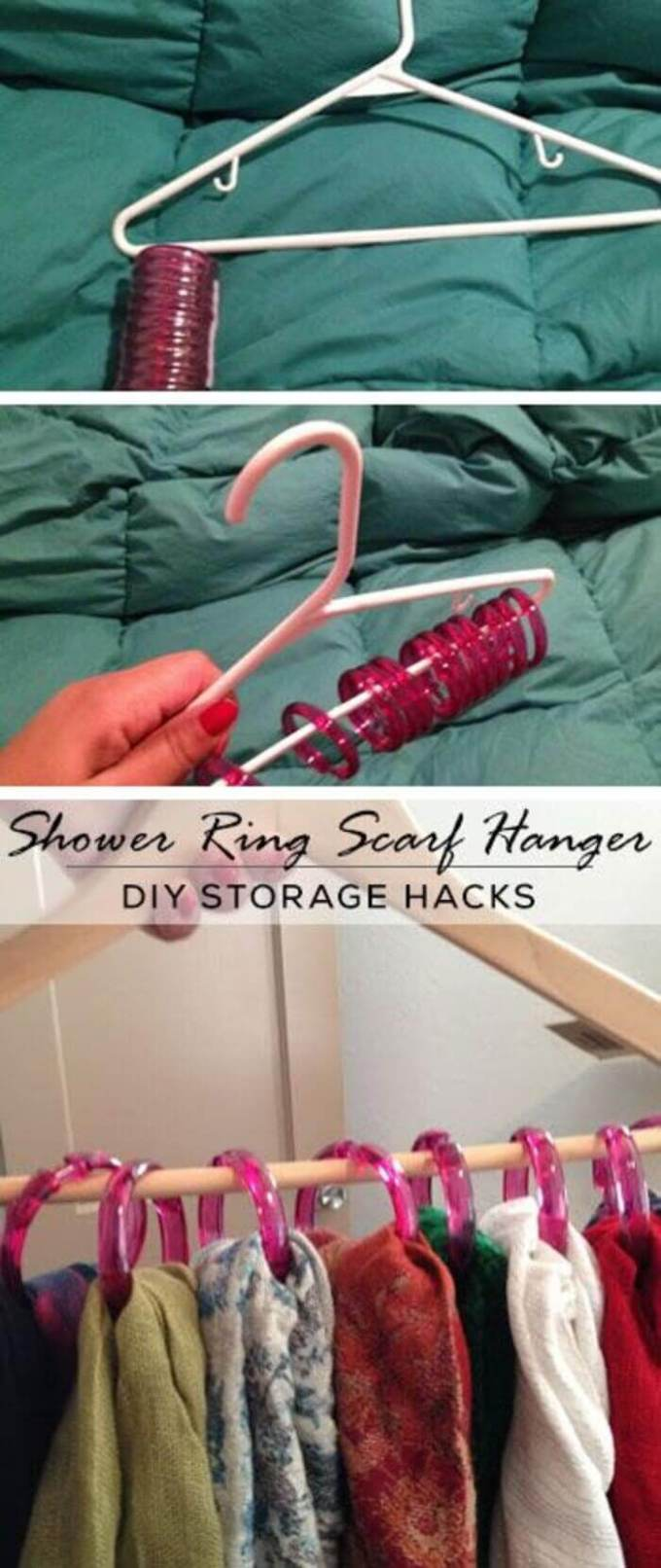 Storage Ideas for Small Spaces - Simple Shower Ring Scarf Storage - Harpmagazine.com