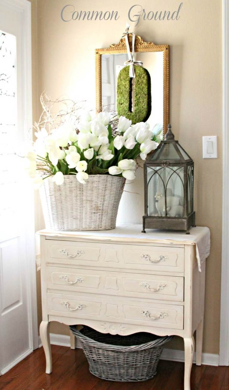 French Country Decor Ideas - Springtime French Country-Inspired Foyer Display - Harpmagazine.com