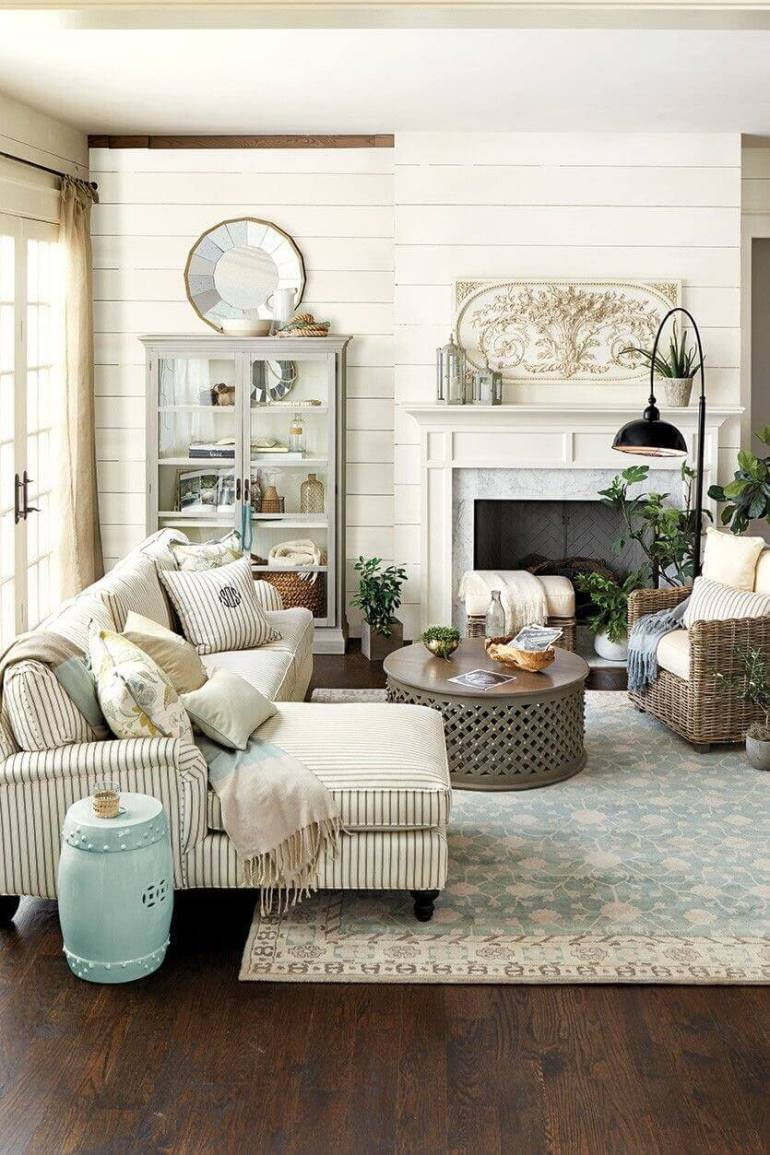French Country Decor Ideas - Inviting Livingroom with Striped Linen Couch - Harpmagazine.com