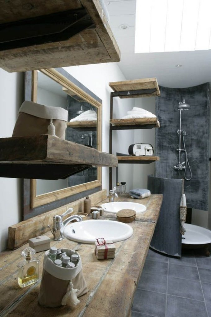 Rustic Bathroom Decor Ideas - Rustic Bathroom Decorations with Honey-toned Wood and Dark Stone - harpmagazine.com