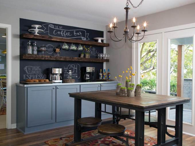 Farmhouse Kitchen Decor Design Ideas - Rustic Chalkboard Kitchen Accent Wall - harpmagazine.com