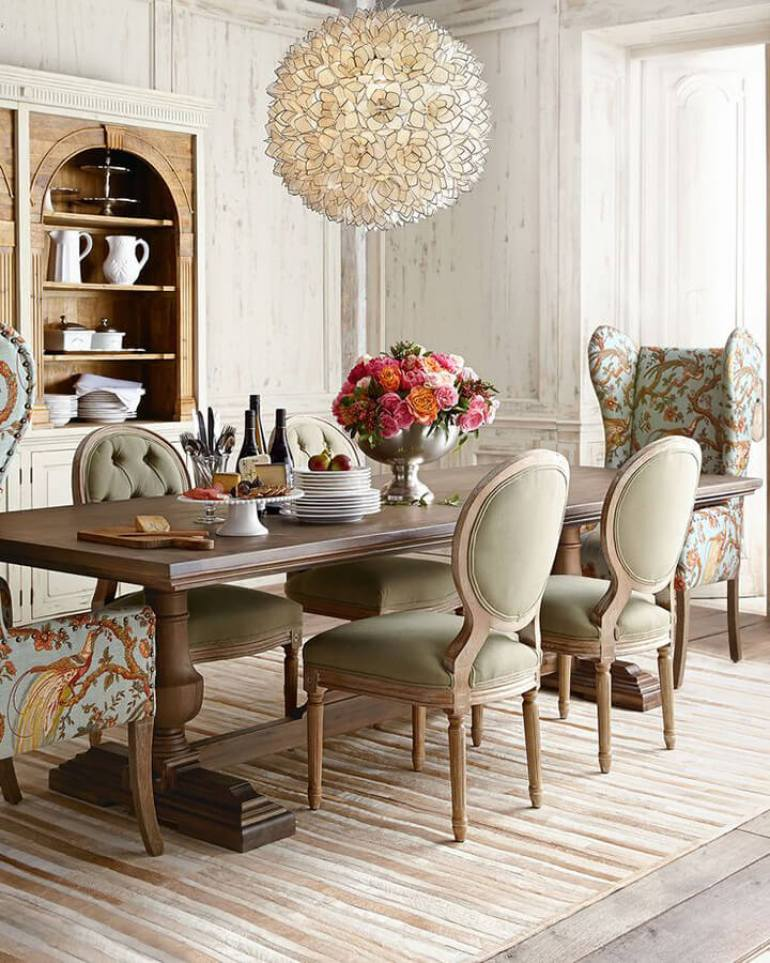 French Country Decor Ideas - High-Ceiling Dining Room with Fanciful Chairs - Harpmagazine.com