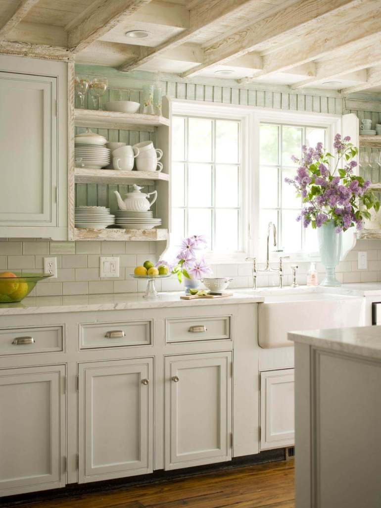 French Country Decor Ideas - Beautiful Mint and White French Kitchen - Harpmagazine.com