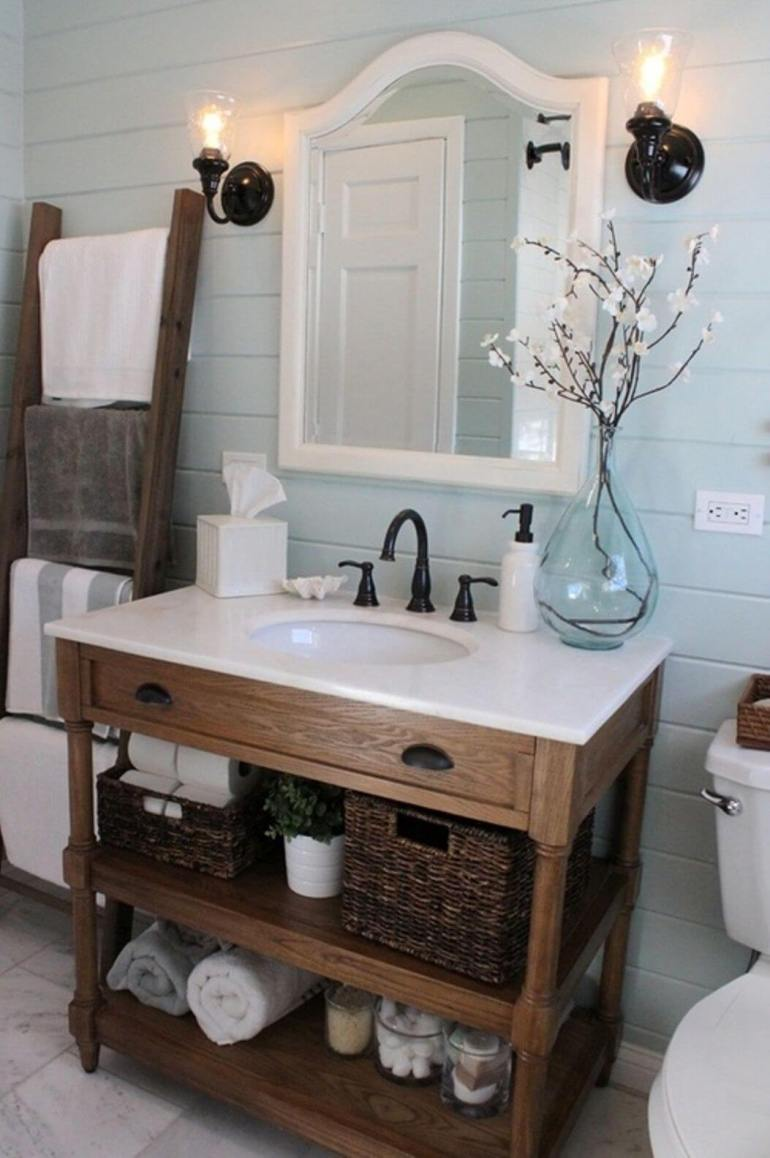 Rustic Bathroom Decor Ideas - Cottage Bath with Painted Shiplap and Vintage Hardware - harpmagazine.com