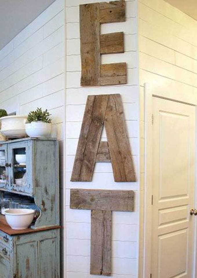 Rustic Wall Decor Ideas - Country Diner Barn Wood Kitchen Sign - harpmagazine.com