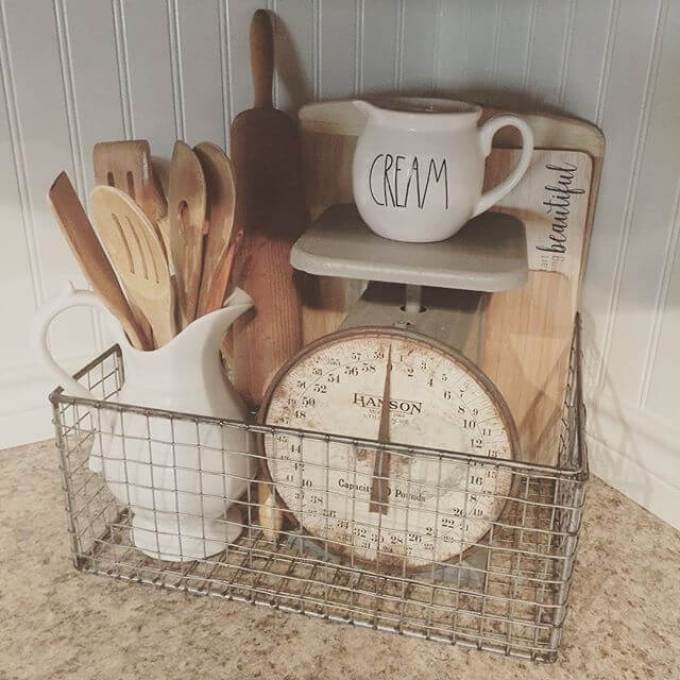 Farmhouse Kitchen Decor Design Ideas - Natural Wood and Ivory Collection in Antique Barn Basket - harpmagazine.com
