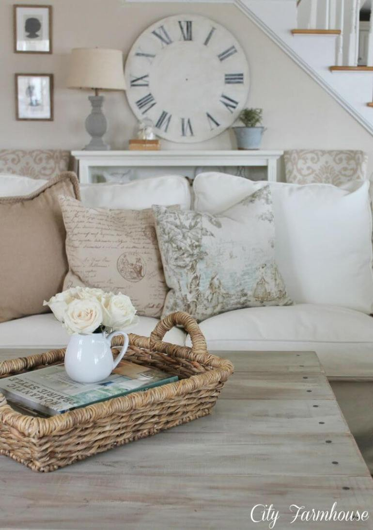 French Country Decor Ideas - White Linen Couch and Barnwood Coffee Table - Harpmagazine.com