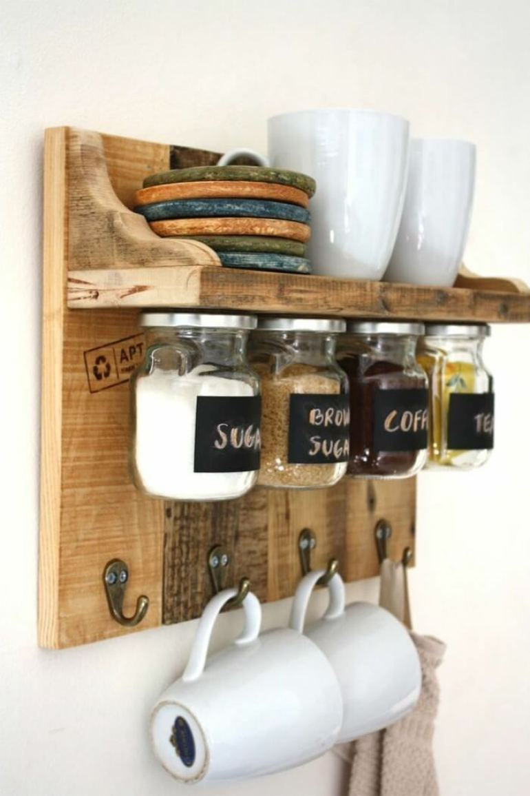 Storage Ideas for Small Spaces - Space-Saving Jars Mounted Under a Shelf - Harpmagazine.com
