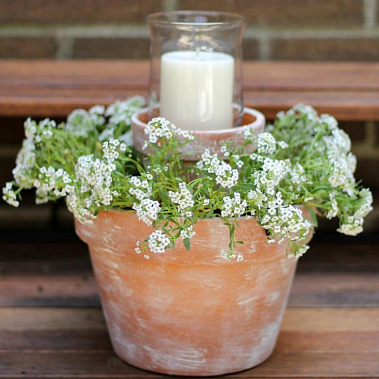 Front Door Flower Pots Ideas - Tiered Terra Cotta Pot Planter with Candle - harpmagazine.com