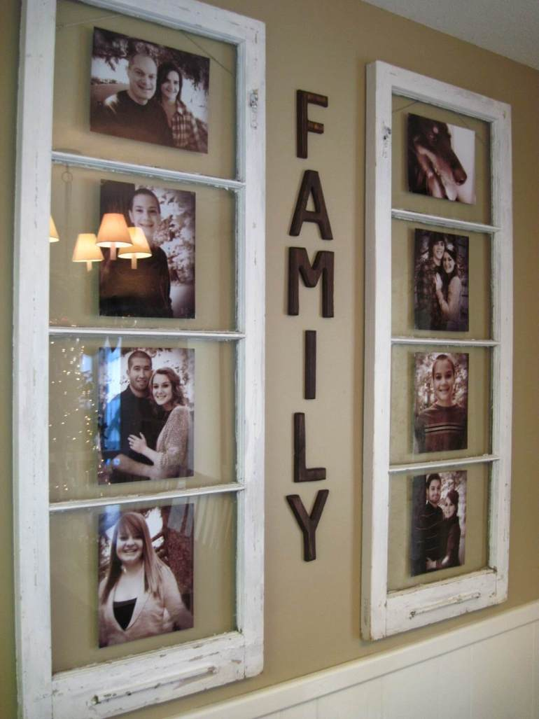 Rustic Wall Decor Ideas - Family Photo Collage from Recycled Window Frames - harpmagazine.com