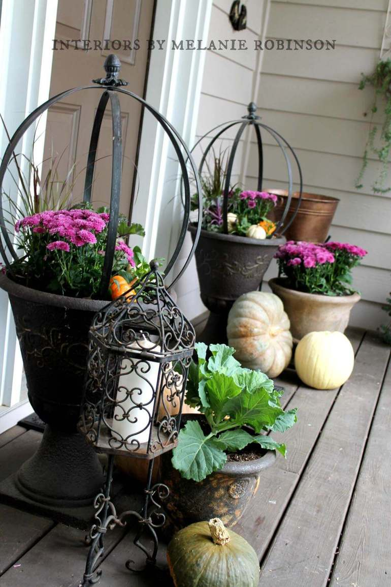 Front Door Flower Pots Ideas - Oil Rubbed Bronze Mum Planters - harpmagazine.com