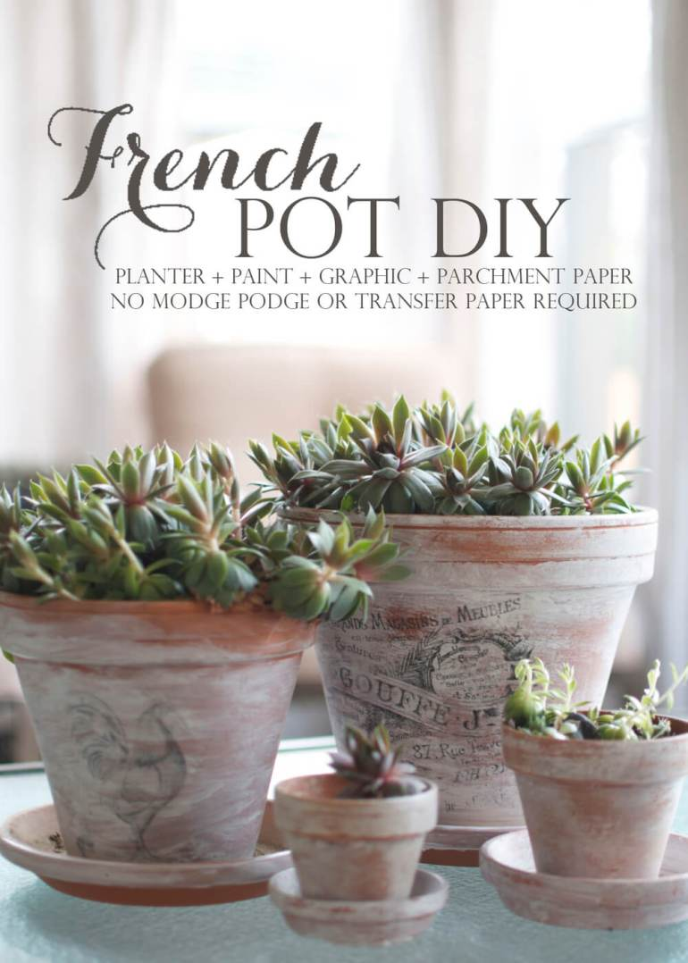French Country Decor Ideas - DIY Printed Graphics on Whitewashed Terracotta Pots - Harpmagazine.com