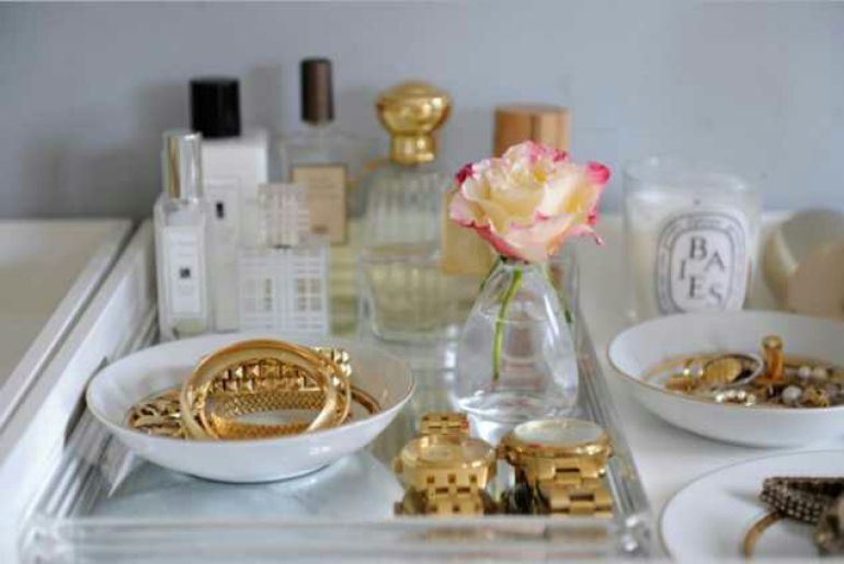 Makeup Room Ideas - Small Bowls and Old Dinnerware - harpmagazine.com