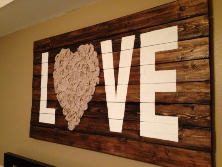 "Rustic Wall Decor Ideas - ""Love"" Wall Art with Reclaimed Wood and Fabric - harpmagazine.com"