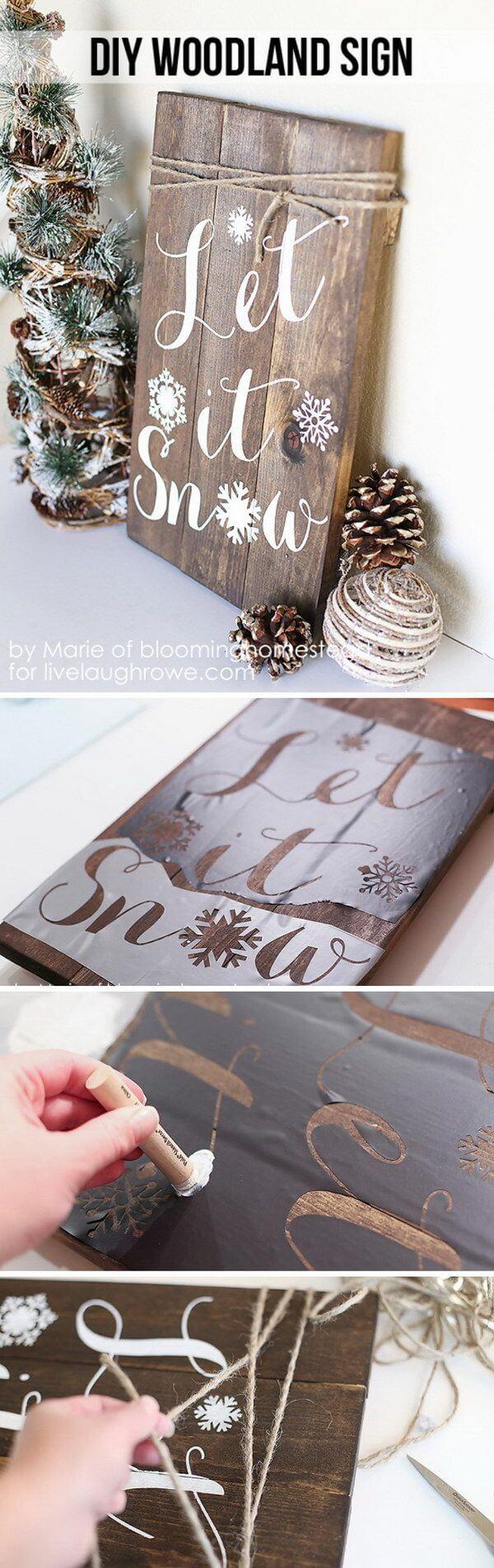 Wood Signs Ideas - Simple Stenciled Holiday Panel - harpmagazine.com