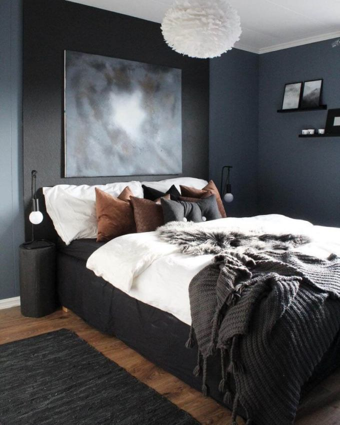 Bedroom Paint Colors Bold and Masculine Grey - Harppost.com