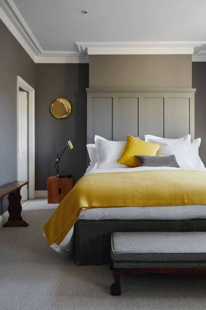 Bedroom Paint Colors Contemporary Grey and Yellow - Harppost.com