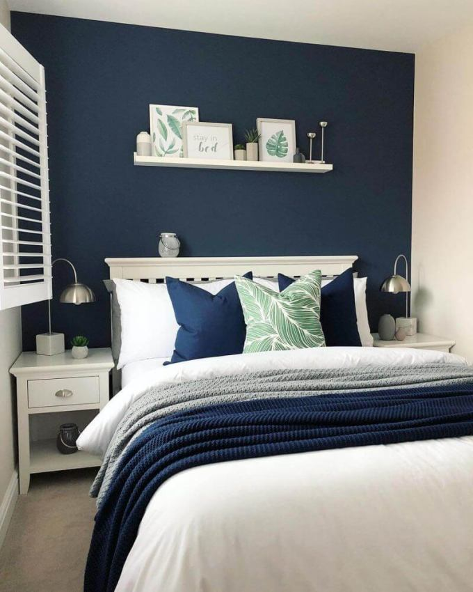 Bedroom Paint Colors The Bold of Navy Blue with The Touch of Nature - Harppost.com