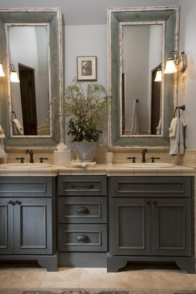 French Country Decor Classic Bathroom with Distressed Vanity Mirror - Harppost.com