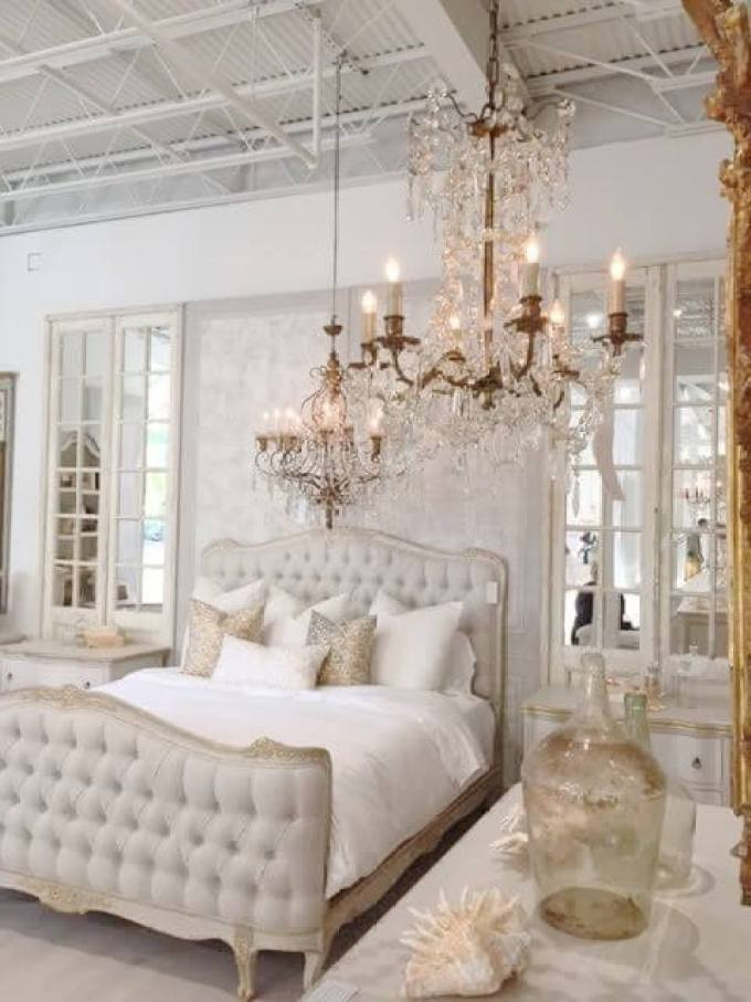 French Country Decor Luxurious Bedroom with Crystal Lights - Harppost.com