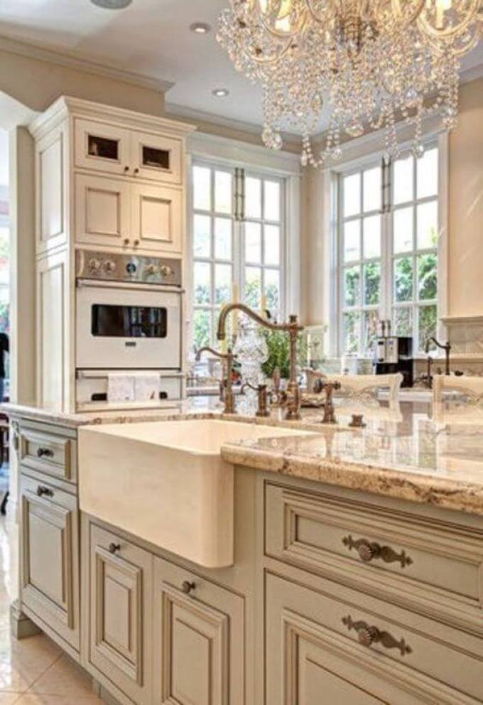 French Country Decor Luxurious White Kitchen - Harppost.com