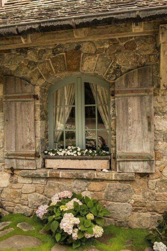 French Country Decor Rustic Window with Flower Bed - Harppost.com