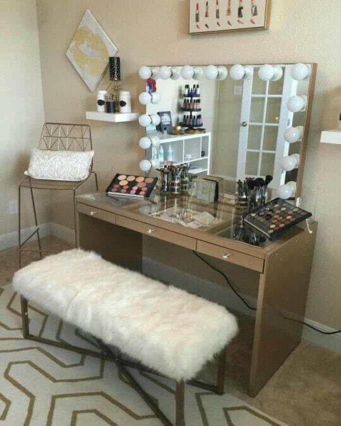 Makeup Room Ideas Dressing Table with Glass Tabletop - Harppost.com