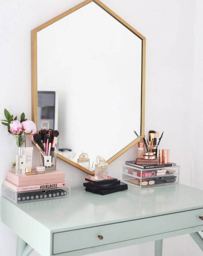 Makeup Room Ideas Hexagonal Vanity Mirror with Wooden Accent - Harppost.com