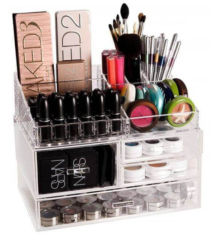 Makeup Room Ideas Makeup Kit and Essentials Glass Rack - Harppost.com