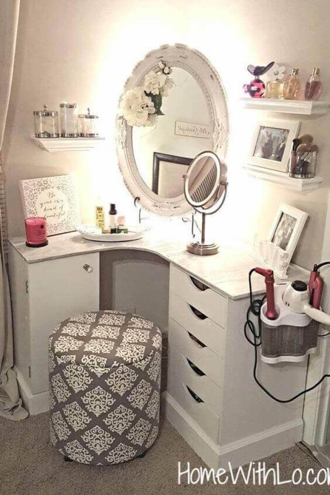 Makeup Room Ideas Vanity Mirror with Hidden LED Light - Harppost.com