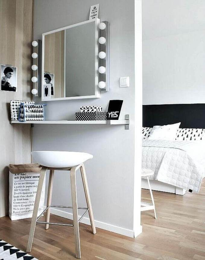 Simple Black and White Makeup Room Ideas - Harppost.com