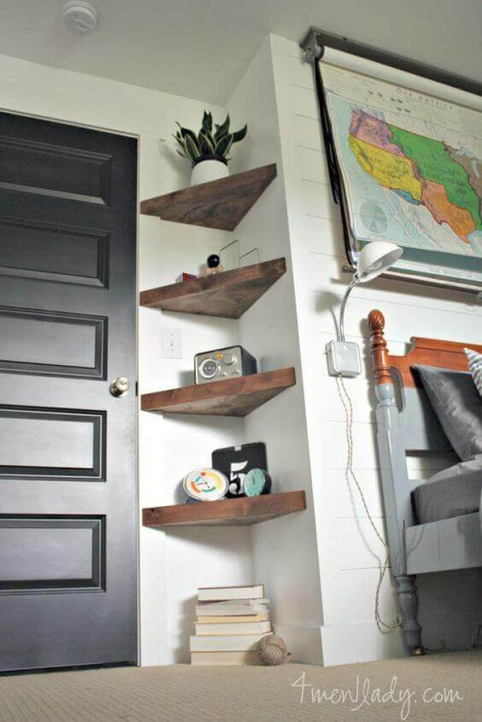 Small Bedroom Ideas with Shelves in Nooks - Harppost.com